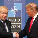 Prime Minister Boris Johnson (left) and US President Donald Trump during the annual Nato heads of government summit at The Grove hotel in Watford, Hertfordshire (Steve Parsons/PA)
