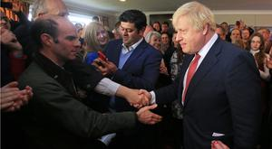 Boris Johnson meets supporters during a visit to Tony Blair's old Sedgefield constituency (Lindsey Parnaby/PA)