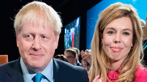 Prime Minister Boris Johnson with fiancee Carrie Symonds