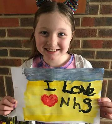 Megan White, 8, painted a picture to thank the staff who looked after her dad. (Claire White)