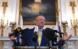 Russian ambassador to the UK Alexander Yakovenko speaking at the embassy in London (Kirsty O'Connor/PA)