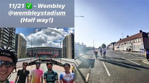 A group of five friends cycled to 21 London football grounds in one day (Matt Cusworth/PA)