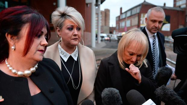 Christine Burke, widow of victim Henry Thomas Burke, Louise Brookes, sister of victim Andrew Brookes and Jenni Hicks, whose two daughters died in the disaster, speaking outside Preston Crown Court