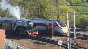 Flying Scotsman and Virgin Trains' new Azuma arrive at York Station to join two trains of the rail operator's present-day fleet