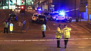 Emergency services at Manchester Arena after a bomb went off in May 2017 (Peter Byrne/PA)