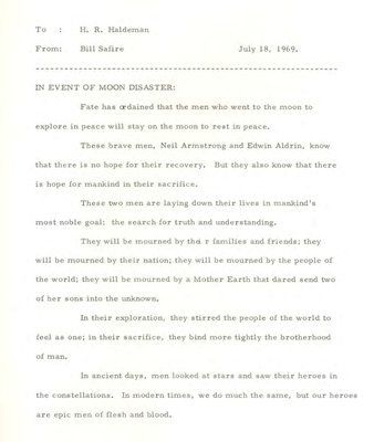 The speech President Nixon would have read if Apollo 11 failed (National Archives and Records Administration/PA)