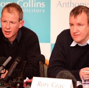 Stuart Gray (left) and Rory Gray, after an inquest into the death of their father, David Gray