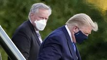 President Donald Trump arrives at Walter Reed National Military Medical Centre on Friday (AP Photo/Jacquelyn Martin)
