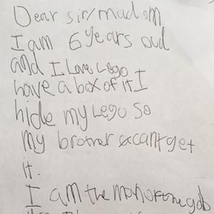 An excerpt from Stanley's letter (Legoland/PA)