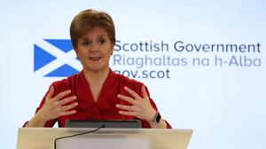 Scotland's First Minister Nicola Sturgeon speaking during a briefing on coronavirus in Edinburgh (Andrew Milligan/PA)