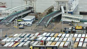 Lorries queue up at the Port of Dover Ferry Terminal (Johnny Green/PA)
