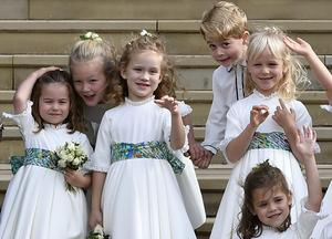 George joins the bridesmaids at the wedding of Princess Eugenie and her husband Jack Brooksbank (Toby Melville/PA)