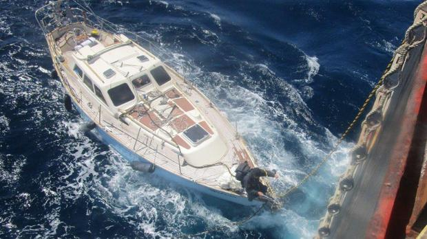 UK-registered yacht rescued 500 miles off the coast of Cornwall (Maritime and Coastguard Agency/PA)