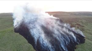 Aaerial shot of the fire at Darwen (Lancashire Fire and Rescue Service)