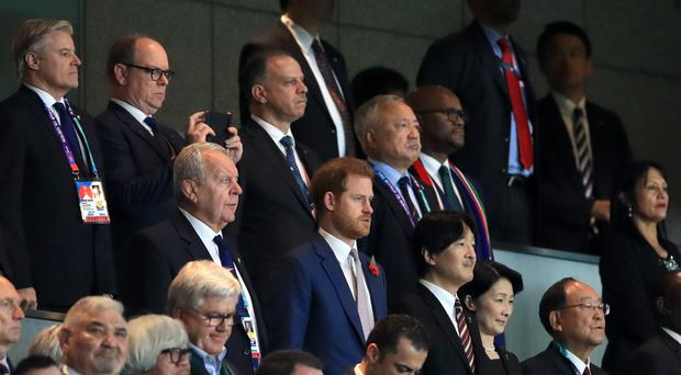 Harry watched England's defeat in Yokohama (Adam Davy/PA)