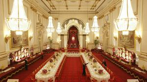 The State Banquet table, in the ballroom at Buckingham Palace, London, ahead of a summer opening (Dominic Lipinski/PA)