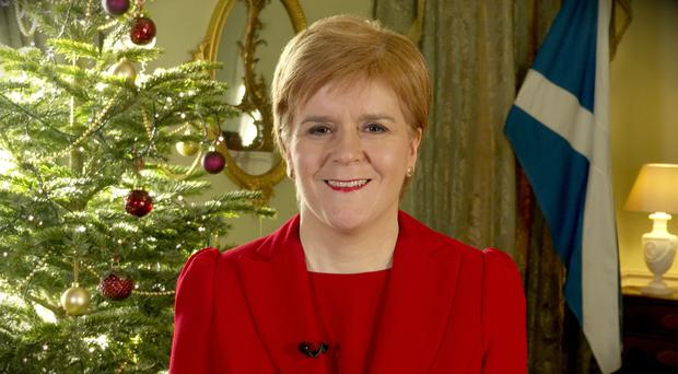First Minister Nicola Sturgeon giving her Christmas address (Scottish Government/PA)