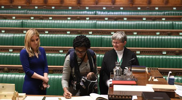 Conservative MP Kemi Badenoch being sworn in during the swearing in of Parliament (UK Parliament/Jessica Taylor)