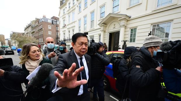 Myanmar's former ambassador to the UK, Kyaw Zwar Minn, outside the Myanmar embassy in Mayfair, London (Ian West/PA)