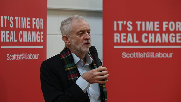 Labour party leader Jeremy Corbyn speaks during a visit to the Heart of Scotstoun Community Centre in Glasgow (Andrew Milligan/PA)