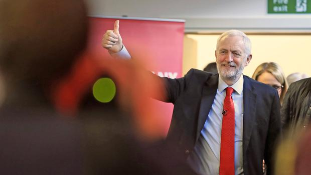 Labour Party leader Jeremy Corbyn arrives in Lancaster, on the General Election campaign trail (PA)