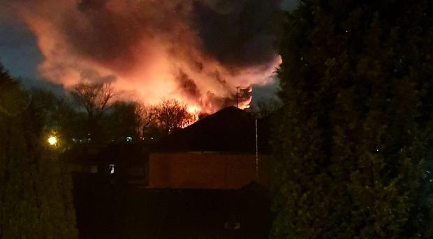 A huge fire has broken out at a scrapyard in Pimhole Road, Bury (@MichelleBoudin_/PA)