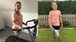 Maisie Catt, who lost both her legs when she was a baby, has walked a marathon distance at home to raise money for charity (Sharon Catt/PA)