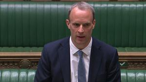 Foreign Secretary Dominic Raab makes a statement to MPs in the House of Commons about relations with China (House of Commons/PA)
