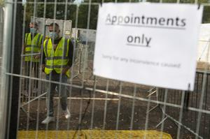 A sign says 'appointments only' at a coronavirus testing facility in Sutton Coldfield, Birmingham (Jacob King/PA)