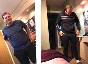 Two photos showing Kieran Amos before and after he lost seven stone during lockdown (Kieran Amos)