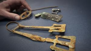 Some of the artefacts discovered during excavations (Danny Lawson/PA)