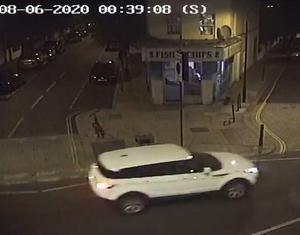 Investigators are focusing on a white Range Rover Evoque that was found burned out near the scene (Metropolitan Police/PA)