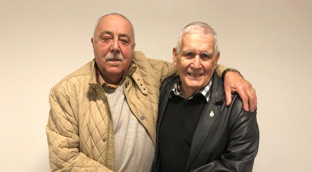 John Halloran (left) and John Stacey were reunited for the first time in 60 years after a chance encounter in Cardiff (Adam Hale/PA)