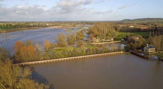 Fields flooded near Kellaways in Wiltshire after the river Avon burst its banks (Steve Parsons/PA)