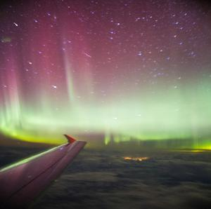 A photo taken from a BA flight, chartered by Aerobility, a charity that gives people with disability the chance to fly, of the Northern Lights.