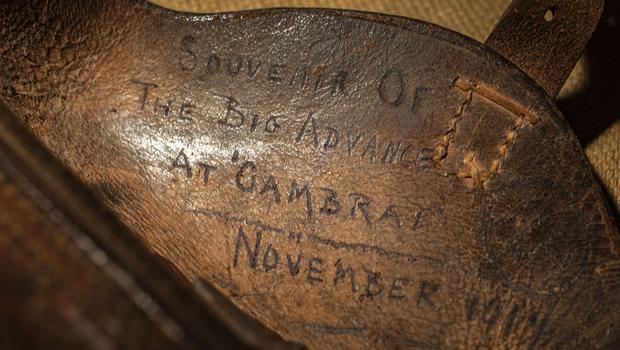 The inscription on the holster of the Luger handed into a police amnesty and donated to The Tank Museum (The Tank Museum/PA).
