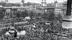 Crowds in Trafalgar Square celebrate VE Day on May 8 1945 (PA)