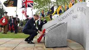 The Duke of Cambridge lays a wreath at the National Memorial Arboretum at Alrewas, in Staffordshire (PA)