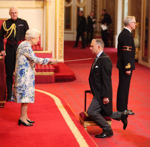 Sir Mark Sedwill is made a Knight Commander of the Order of St Michael and St George, by the Queen (Yui Mok/PA)