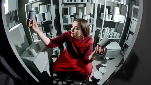 Gabrielle Gillott in her Brexit-inspired doomsday bunker installation (Colin Hattersley/The Glenfiddich Award/PA)