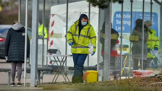 Walk-in surge testing at The Mall in Cribbs Causeway in South Gloucestershire (Ben Birchall/PA)