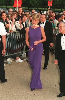The Princess of Wales arrives at the Field Museum in Chicago, wearing a Versace dress (John Stillwell/PA)