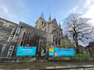 A Covid-19 test centre has been set up at Rochester Cathedral (Handout/PA)