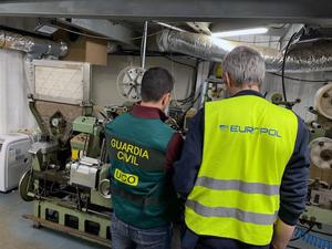 A subterranean counterfeit cigarette factory in the Malaga province of Spain (National Crime Agency/PA)