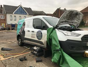 An RSPCA van, one of the three vehicles that rescuers partially dismantled (RSPCA/PA)