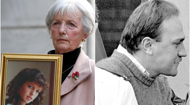 Marie McCourt with a photo of daughter Helen and a file picture of Ian Simms (Gareth Fuller/PA)
