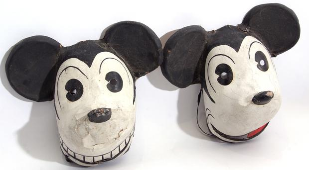 A pair of Mickey Mouse masks sold at auction (Keys/ PA)