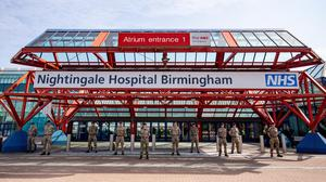 Military personnel at the new temporary NHS Nightingale Birmingham Hospital at the NEC (Jacob King/PA)