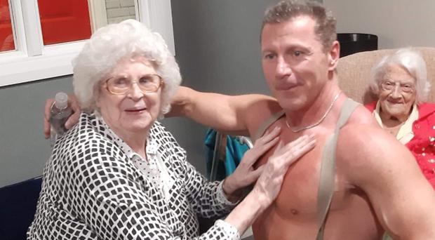 Glastonbury Court care home resident Joan with a stripper (Care UK/PA)