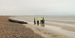 An empty dinghy on the beach at Lydd-on-Sea in Kent (Chris Matcham/Twitter/PA)